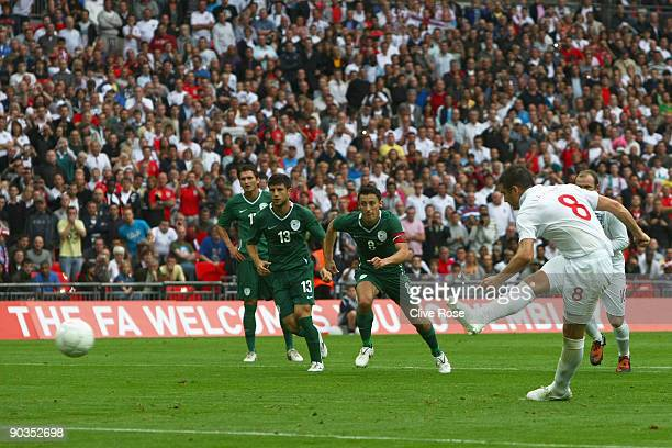 Frank Lampard of England scores from the penalty spot during the International Friendly match between England and Slovenia at Wembley Stadium on...