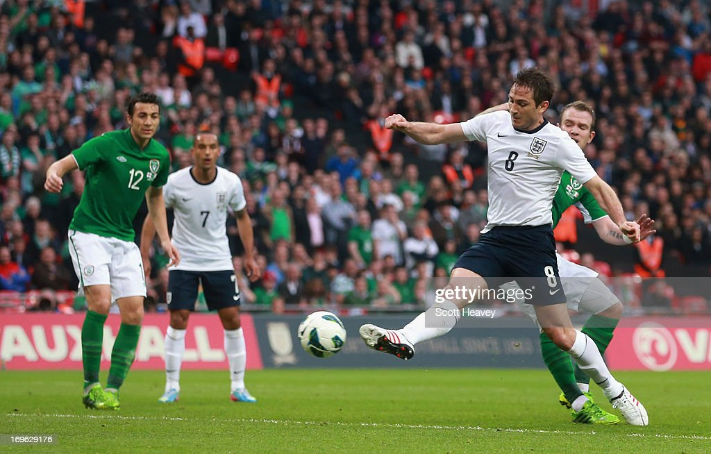 Frank Lampard of England scores his team's first goal to make the score 1-1 during the International Friendly match between England and the Republic of Ireland at Wembley Stadium on May 29, 2013 in London, England.