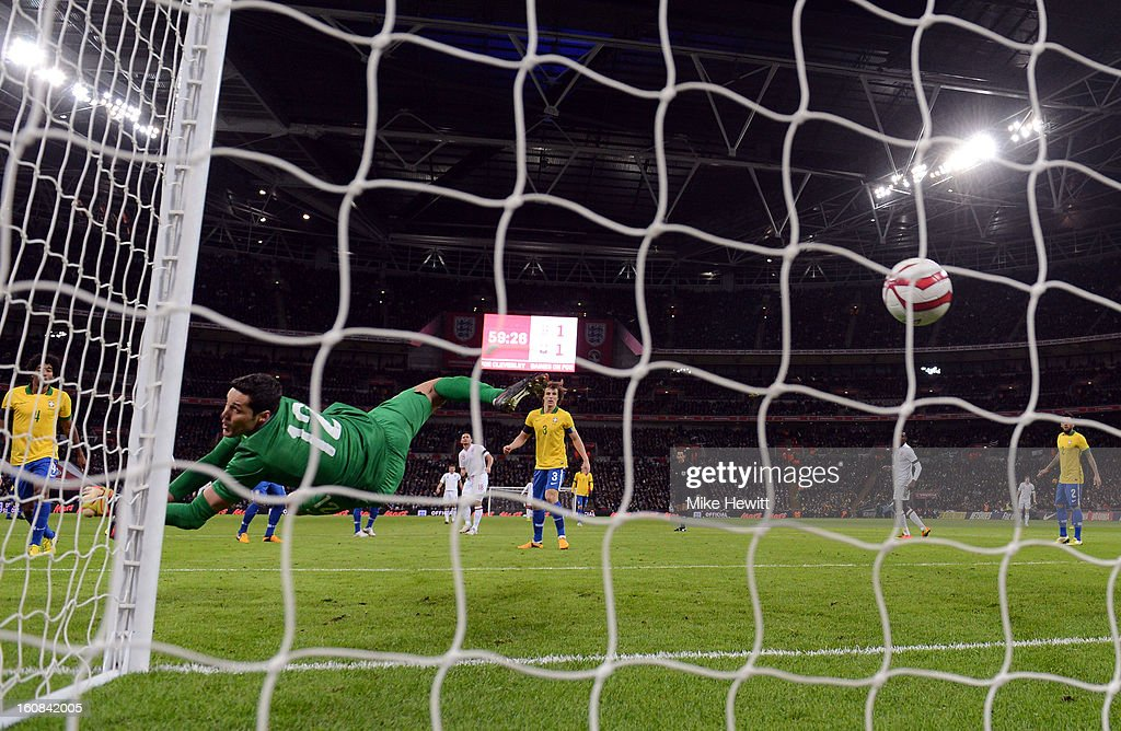 Frank Lampard of England scores his team's second goal past Julio Cesar of Brazil during the International friendly between England and Brazil at Wembley Stadium on February 6, 2013 in London, England.