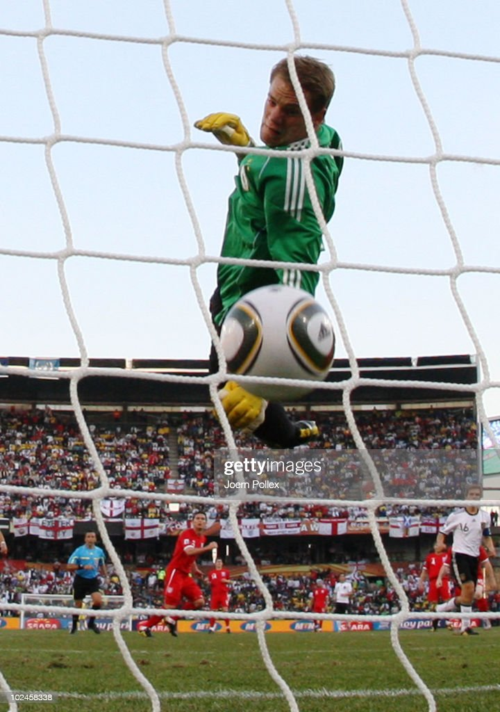 Frank Lampard of England scores his team's second goal past Manuel Neuer of Germany which is disallowed during the 2010 FIFA World Cup South Africa Round of Sixteen match between Germany and England at Free State Stadium on June 27, 2010 in Bloemfontein, South Africa.