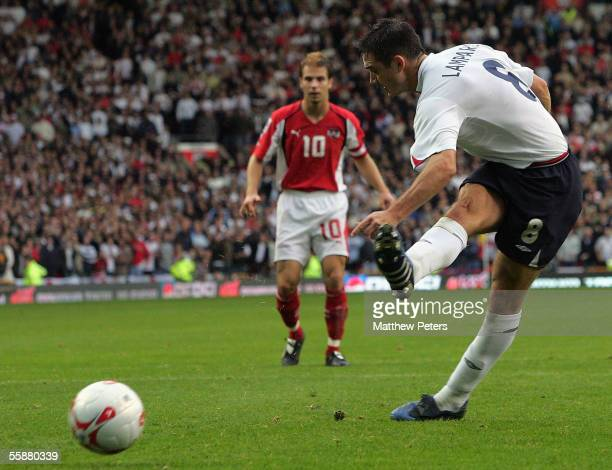Frank Lampard of England scores the first goal during the World Cup qualifying match between England and Austria at Old Trafford on October 8 2005 in...