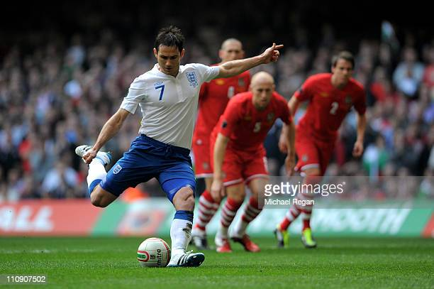 Frank Lampard of England scores the opening goal from the penalty spot during the UEFA EURO 2012 Group G qualifying match between Wales and England...
