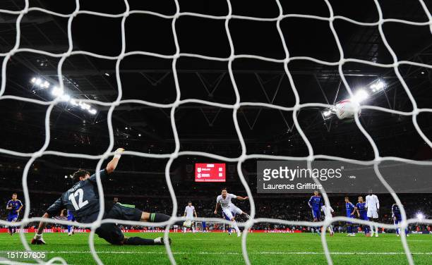Frank Lampard of England scores their equalising goal from the penalty spot past Andriy Pyatov the Ukraine goalkeeper during the FIFA 2014 World Cup...