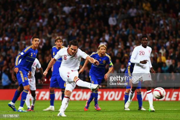 Frank Lampard of England scores their first goal from the penalty spot during the FIFA 2014 World Cup Group H qualifying match between England and...