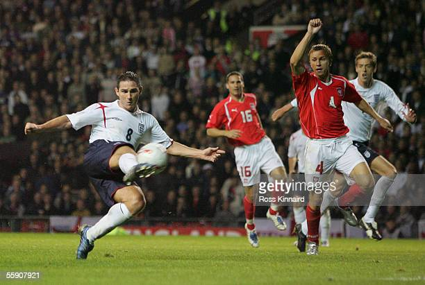 Frank Lampard of England scores their second goal during the FIFA World Cup Group 6 qualifying match between England and Poland at Old Trafford on...