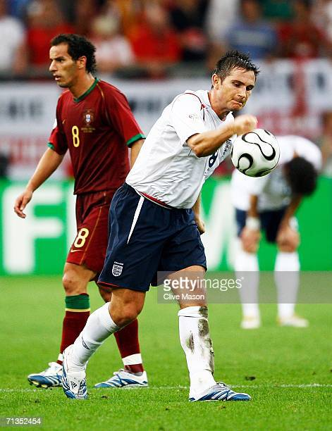 Frank Lampard of England shows his frustration during the FIFA World Cup Germany 2006 Quarterfinal match between England and Portugal played at the...