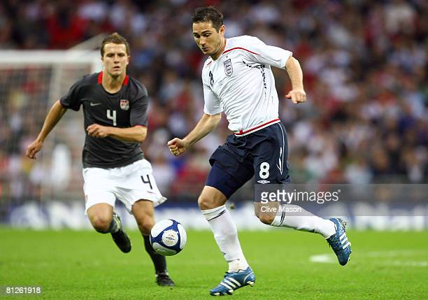 Frank Lampard of England takes on Michael Bradley of USA during the international friendly match between England and the USA at Wembley Stadium on...