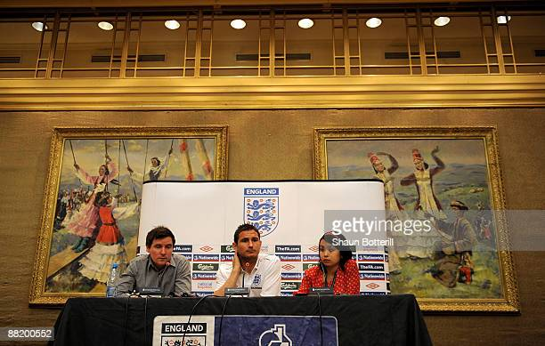 Frank Lampard of England talks to the media during a press conference at the Intercontinental Hotel on June 4 2009 in Almaty Kazakhstan