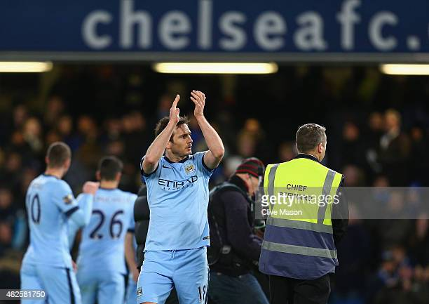 Frank Lampard of Manchester City applauds the crowd at the end of the Barclays Premier League match between Chelsea and Manchester City at Stamford...