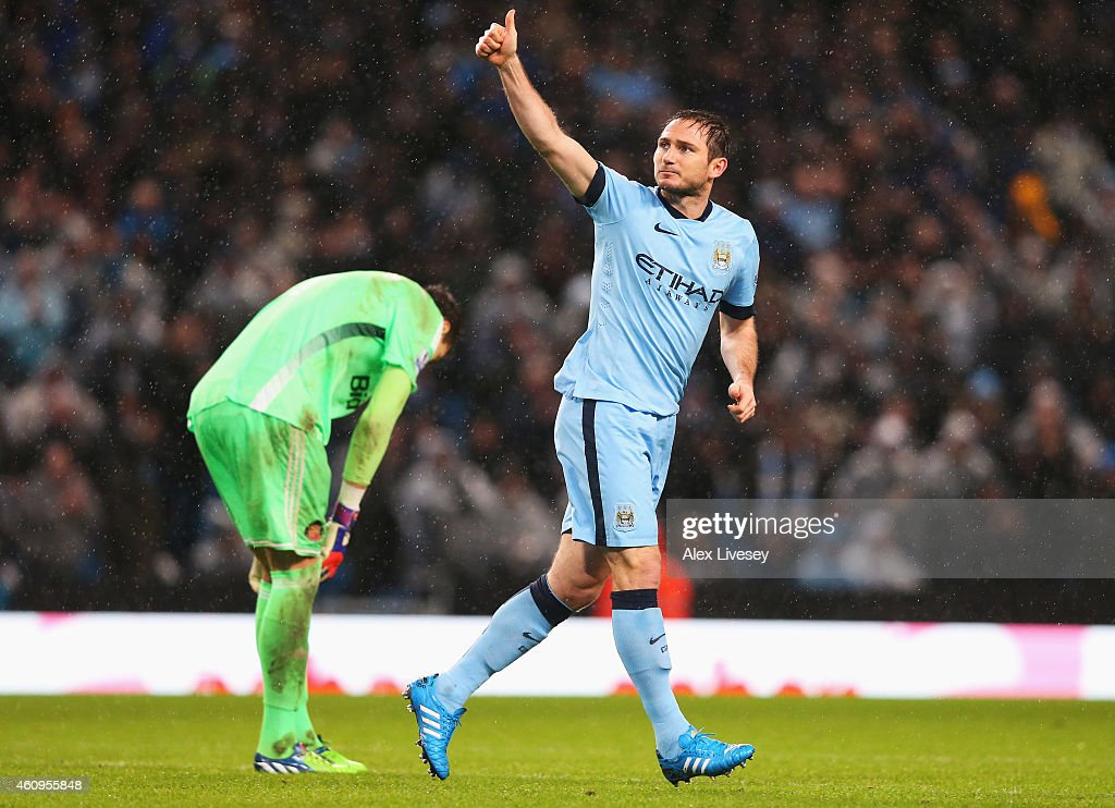 Frank Lampard of Manchester City celebrates his team's third goal during the Barclays Premier League match between Manchester City and Sunderland at Etihad Stadium on January 1, 2015 in Manchester, England.
