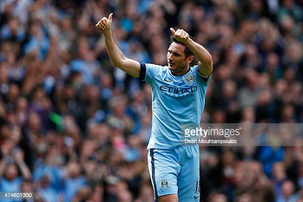 Frank Lampard of Manchester City celebrates scoring his team's first goal during the Barclays Premier League match between Manchester City and...