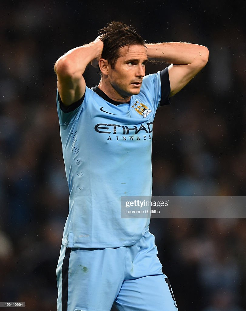 Frank Lampard of Manchester City looks dejected at the end of the UEFA Champions League Group E match between Manchester City FC and AS Roma on September 30, 2014 in Manchester, United Kingdom.