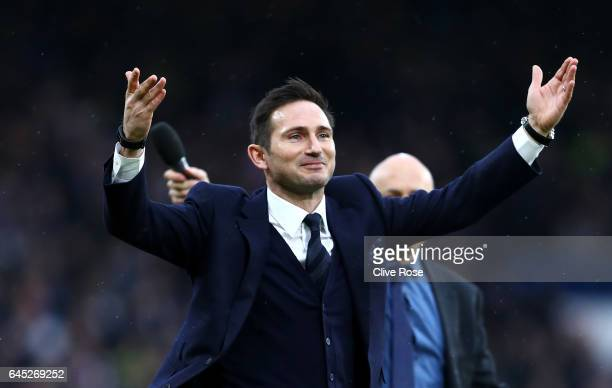 Frank Lampard shows appreciation to the fans at half time during the Premier League match between Chelsea and Swansea City at Stamford Bridge on...