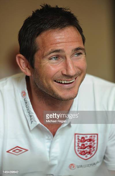 Frank Lampard speaks to the media during the England press conference at the Grove Hotel on May 29 2012 in Watford England