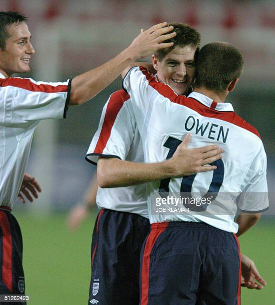Frank Lampard , Steven Gerrard and Michael Owen celebrate England's goal during the FIFA World Cup 2006 quallifing match between Austria and England...