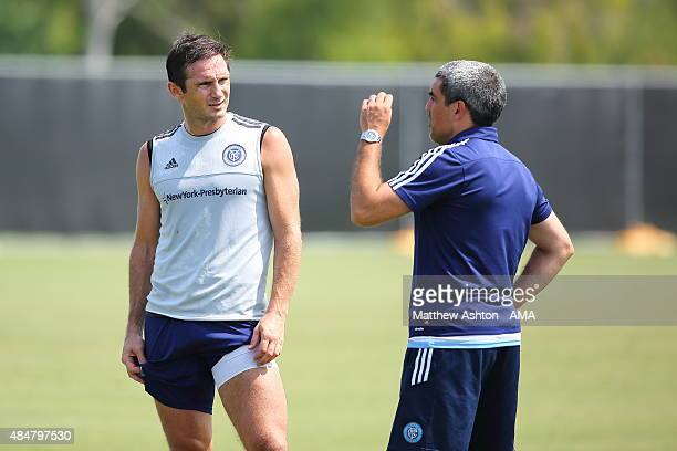 Frank Lampard talks to Director of football operations Claudio Reyna during the New York City training session on August 21 2015 in Los Angeles...