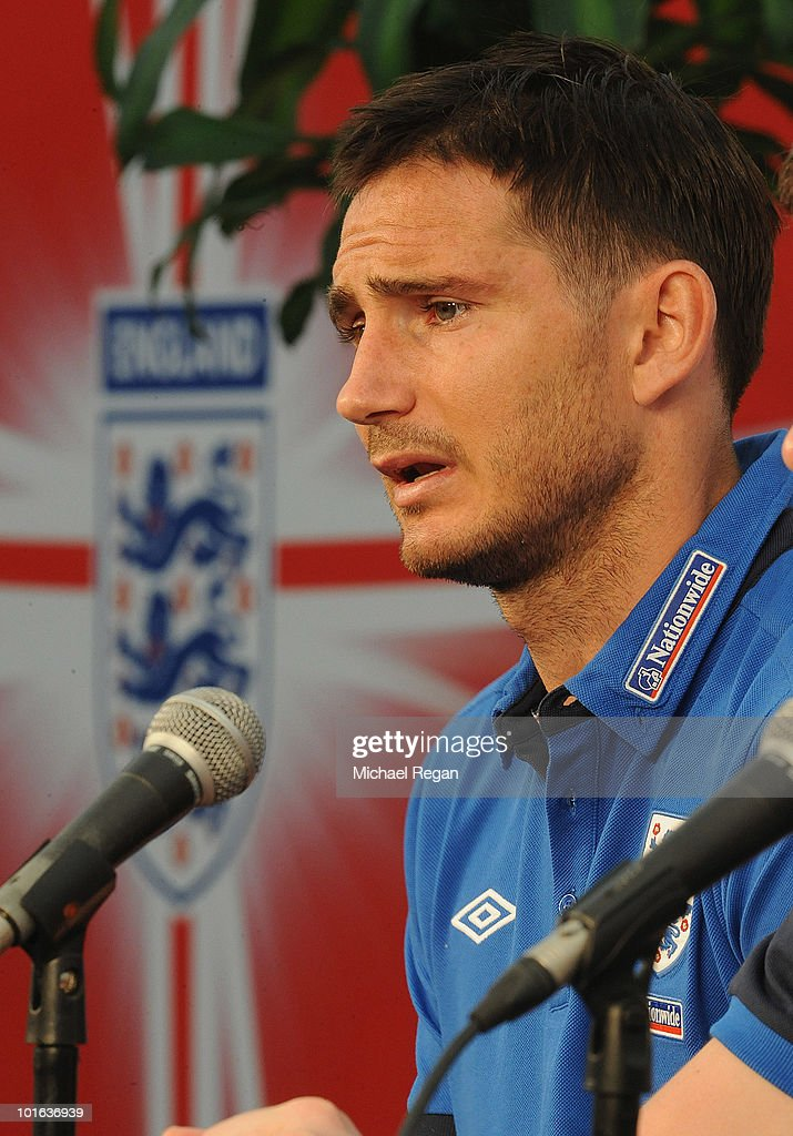 Frank Lampard talks to the media after the England training session at the Royal Bafokeng Sports Campus on June 5, 2010 in Rustenburg, South Africa.