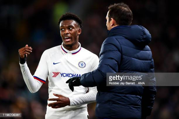 Frank Lampard the head coach / manager of Chelsea and Callum HudsonOdoi of Chelsea uring the Emirates FA Cup Fourth Round match between Hull City and...