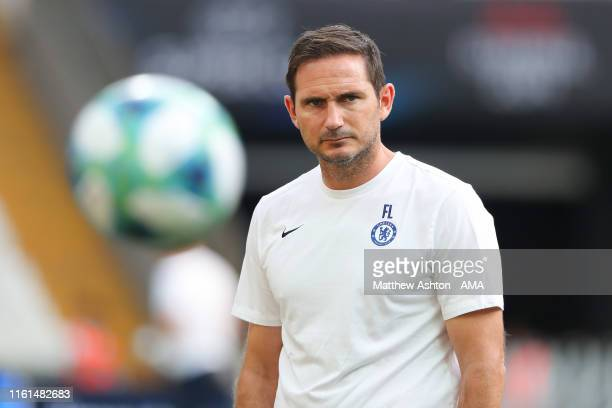 Frank Lampard the head coach / manager of Chelsea during the Chelsea training session ahead of the UEFA Super Cup Final between Liverpool and Chelsea...