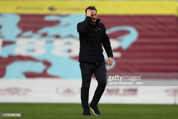 Frank Lampard the manager / head coach of Chelsea during the Premier League match between Burnley and Chelsea at Turf Moor on October 31 2020 in...