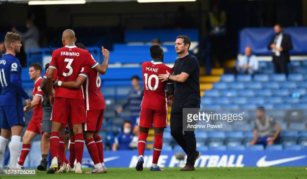 Frank Lampard with liverpool plyers at the end of the Premier League match between Chelsea and Liverpool at Stamford Bridge on September 20 2020 in...