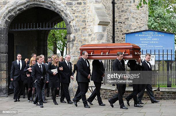 Frank Lampards family and friends leave the funeral of Pat Lampard at St Margarets Church on May 2 2008 in Barking England
