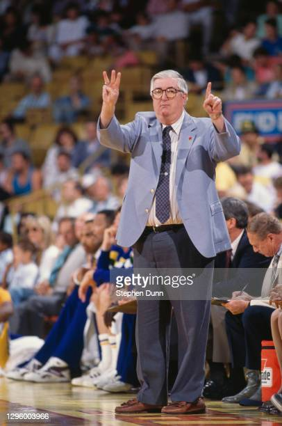 Frank Layden, Head Coach for the Utah Jazz hand signals his players from the side line during Game 1 of the NBA Western Conference Semi Final Playoff...