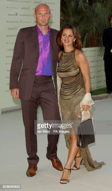 Frank Leboeuf and wife Betty arriving at the Charity Dinner and Auction held before the Laureus Sports Awards in Monte Carlo