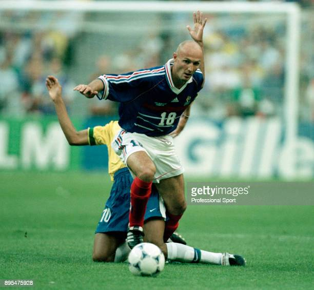 Frank Leboeuf of France in action during the 1998 FIFA World Cup Final between Brazil and France at the Stade de France on July 12 1998 in Paris...