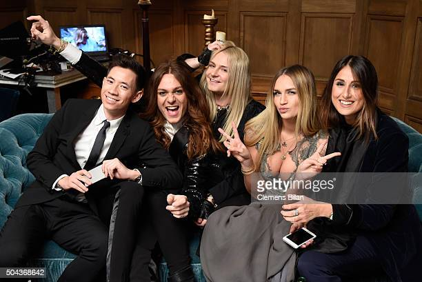 Frank Lin Riccardo Simonetti Jack Strify Nina Suess and LouisaMarie Beyer attend E Red Carpet Influencer Suite promoting 'Live from the Red Carpet'...