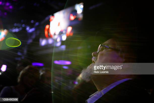 Frank Llewellyn watches election results come in on the laege screen TV at La Boom night club in Queens on November 6 2018 in New York City La Boom...