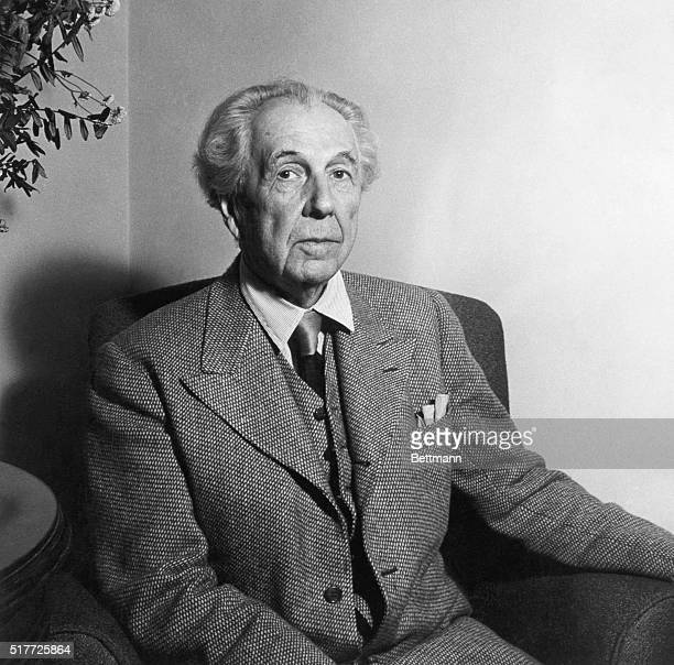 Frank Lloyd Wright American architect at age of 77 Undated photo
