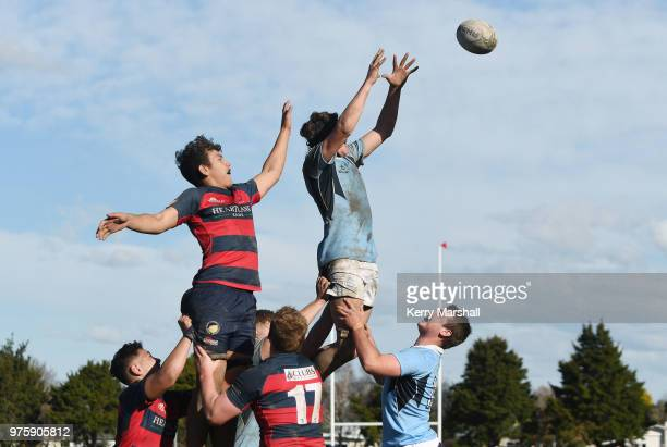 Frank Lochore of Napier Boys High School reaches for the ball during the Schools Super 8 match between Hastings Boys High and Napier Boys High at...