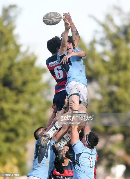 Frank Lochore of Napier Boys High School takes a lineout during the Schools Super 8 match between Hastings Boys High and Napier Boys High at Hastings...