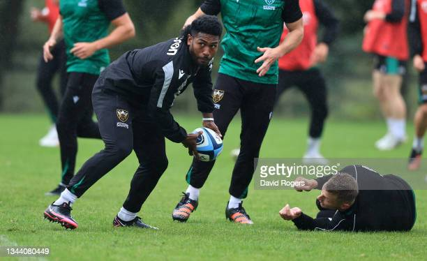 Frank Lomani passes the ball during the Northampton Saints training session held at Franklin's Gardens on September 30, 2021 in Northampton, England.