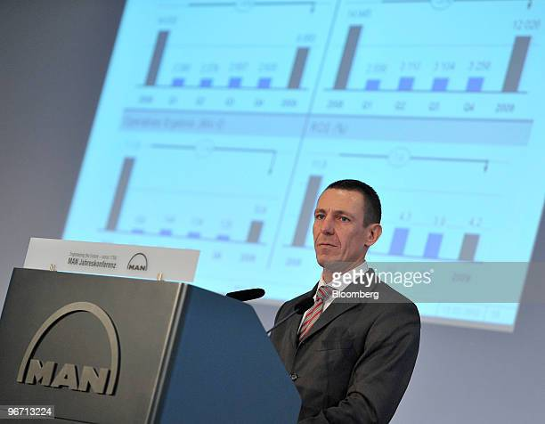 Frank Lutz chief financal officer of MAN SE speaks during the company's news conference in Munich Germany on Monday Feb 15 2010 MAN SE Europe's...