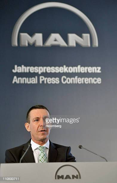 Frank Lutz chief financial officer of MAN SE speaks at the company's news conference in Munich Germany on Monday March 21 2011 MAN SE views a merger...
