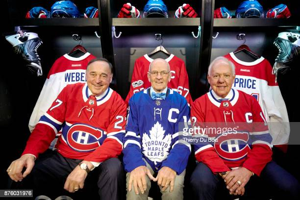 Frank Mahovlich Dave Keon and Yvan Cournoyer pose for a photograph during the NHL Centennial 100 Celebration on November 18 2017 at the Bell Centre...