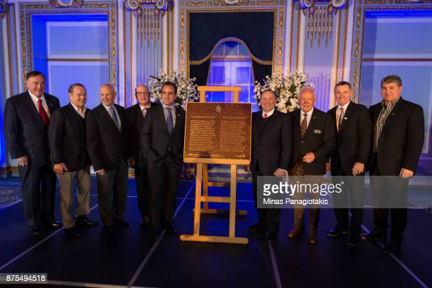 Frank Mahovlich Rod Gilbert Dave Keon NHL deputy commissioner Bill Daly president and owner of the Montreal Canadiens Geoff Molson NHL commissioner...