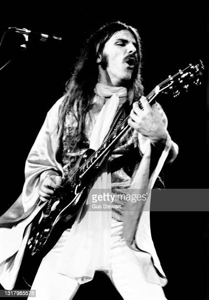 Frank Marino and Mahogany Rush perform on stage at Hammersmith Odeon, London, England, on December 3rd, 1977.