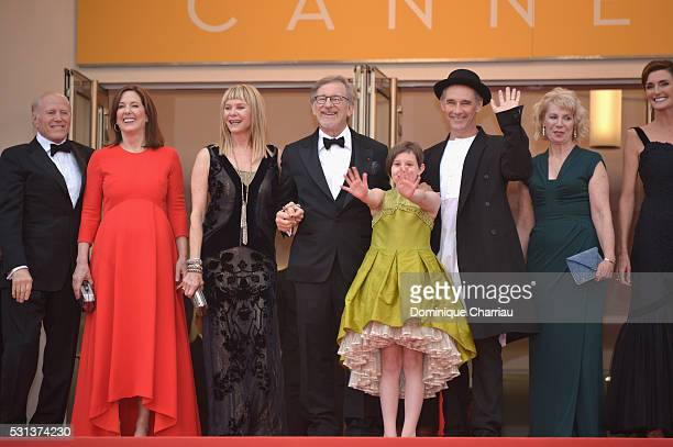 Frank Marshall Kathleen Kennedy Kate Capshaw Steven Spielberg Ruby Barnhill Mark Rylance Claire van Kampen and Lucy Dahl attend The BFG premiere...