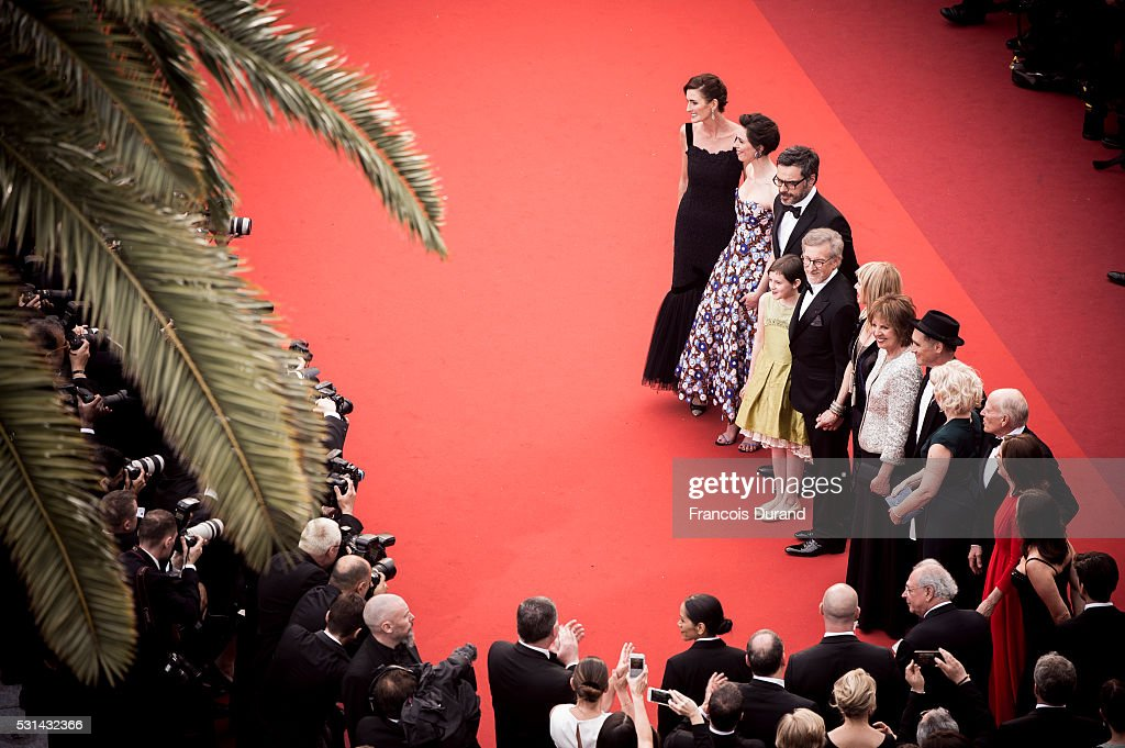 Frank Marshall, Kathleen Kennedy, Kate Capshaw, Steven Spielberg, Ruby Barnhill, Mark Rylance, Claire van Kampen, Lucy Dahl, Penelope Wilton and Jemaine Clement attend the screening of 'The BFG' at the annual 69th Cannes Film Festival at Palais des Festivals on May 14, 2016 in Cannes, France.