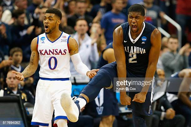 Frank Mason III of the Kansas Jayhawks and Kris Jenkins of the Villanova Wildcats react in the first half during the 2016 NCAA Men's Basketball...