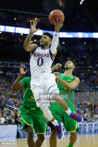 Frank Mason III of the Kansas Jayhawks drives to the basket in the second half against the Oregon Ducks during the 2017 NCAA Men's Basketball...