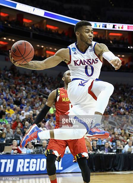 Frank Mason III of the Kansas Jayhawks handles the ball in the first half against the Maryland Terrapins during the 2016 NCAA Men's Basketball...
