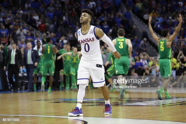Frank Mason III of the Kansas Jayhawks reacts after being defeated by the Oregon Ducks 7460 during the 2017 NCAA Men's Basketball Tournament Midwest...
