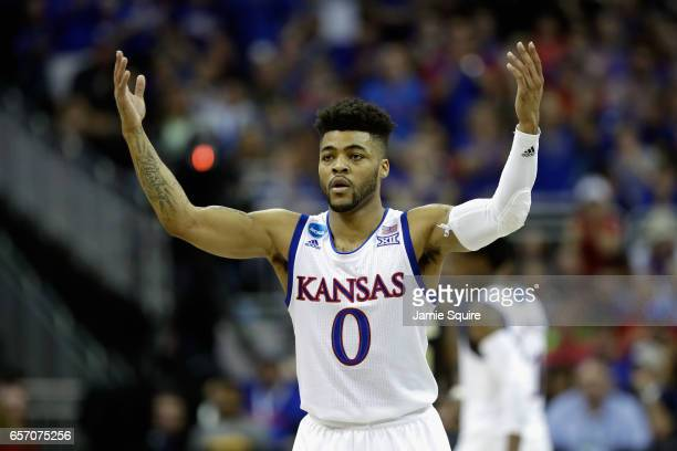 Frank Mason III of the Kansas Jayhawks reacts in the first half against the Purdue Boilermakers during the 2017 NCAA Men's Basketball Tournament...