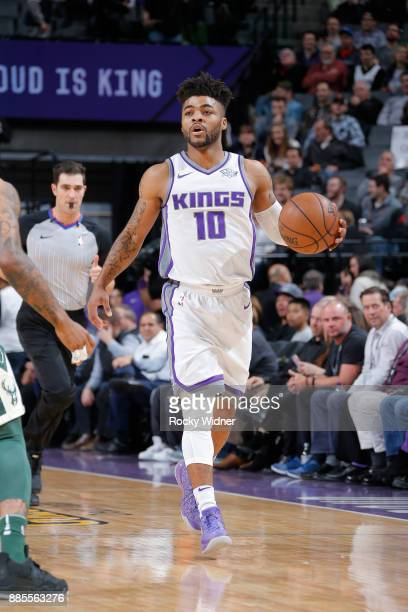 Frank Mason III of the Sacramento Kings brings the ball up the court against the Milwaukee Bucks on November 28 2017 at Golden 1 Center in Sacramento...