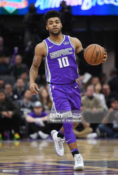 Frank Mason III of the Sacramento Kings dribbles the ball up court against the Los Angeles Lakers during their NBA basketball game at Golden 1 Center...