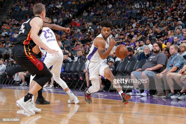 Frank Mason III of the Sacramento Kings drives to the basket against the Miami Heat during the 2018 Summer League at the Golden 1 Center on July 5...